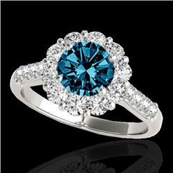 2 ctw SI Certified Fancy Blue Diamond Solitaire Halo Ring 10k White Gold - REF-177W3H