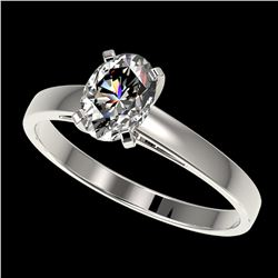 1 ctw Certified VS/SI Quality Oval Diamond Solitaire Ring 10k White Gold - REF-243A2N