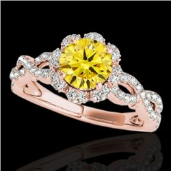 1.69 ctw Certified SI/I Fancy Intense Yellow Diamond Ring 10k Rose Gold - REF-197H8R
