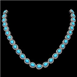 29.73 ctw Turquoise & Diamond Micro Pave Halo Necklace 10k White Gold - REF-588F5M