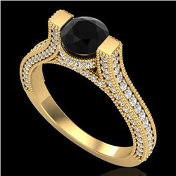 2 ctw Fancy Black Diamond Engagment Micro Pave Ring 18k Yellow Gold - REF-160W2H