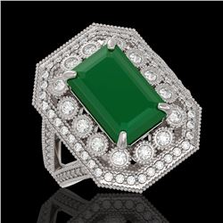 7.11 ctw Certified Emerald & Diamond Victorian Ring 14K White Gold - REF-178G2W