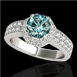 1.4 ctw SI Certified Fancy Blue Diamond Solitaire Halo Ring 10k White Gold - REF-129K4Y