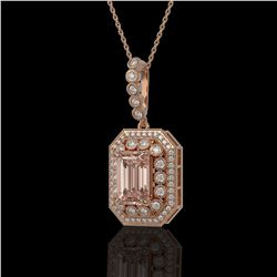 6.05 ctw Morganite & Diamond Victorian Necklace 14K Rose Gold - REF-272X8A