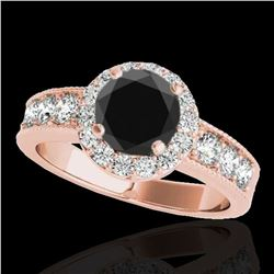 1.85 ctw Certified VS Black Diamond Solitaire Halo Ring 10k Rose Gold - REF-74X5A