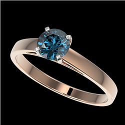 0.75 ctw Certified Intense Blue Diamond Engagment Ring 10k Rose Gold - REF-57H8R