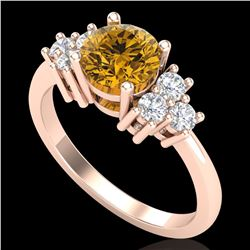 1.5 ctw Intense Fancy Yellow Diamond Ring 18k Rose Gold - REF-218G2W