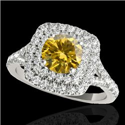 1.6 ctw Certified SI Fancy Intense Yellow Diamond Halo Ring 10k White Gold - REF-190Y9X