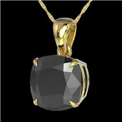 6 Cushion Black Diamond Designer Necklace 18k Yellow Gold - REF-143Y6X