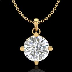 1 ctw VS/SI Diamond Solitaire Art Deco Stud Necklace 18k Yellow Gold - REF-345W5H