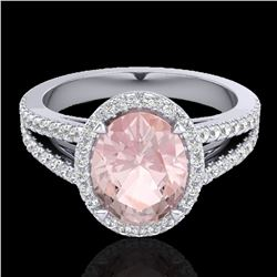 3 ctw Morganite & Micro VS/SI Diamond Halo Ring 18k White Gold - REF-86K2Y