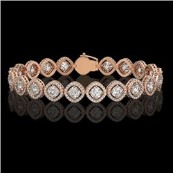 13.06 ctw Cushion Cut Diamond Micro Pave Bracelet 18K Rose Gold - REF-1690G2W