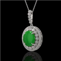 9.17 ctw Jade & Diamond Victorian Necklace 14K White Gold - REF-245Y5X