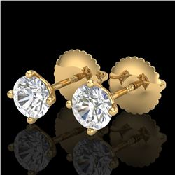 0.65 ctw VS/SI Diamond Solitaire Art Deco Stud Earrings 18k Yellow Gold - REF-60F3M
