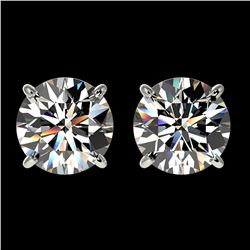 1.97 ctw Certified Quality Diamond Stud Earrings 10k White Gold - REF-256R3K
