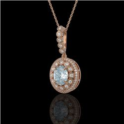 3.82 ctw Aquamarine & Diamond Victorian Necklace 14K Rose Gold - REF-136K8Y