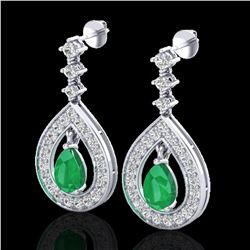 2.25 ctw Emerald & Micro Pave VS/SI Diamond Earrings 14k White Gold - REF-105W5H