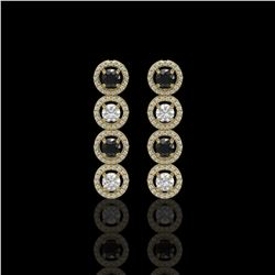 3.84 ctw Black & Diamond Micro Pave Earrings 18K Yellow Gold - REF-259Y2X