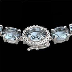 90 ctw Sky Blue Topaz & VS/SI Diamond Micro Necklace 14k White Gold - REF-281W8H
