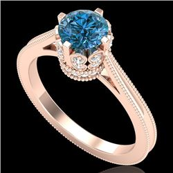 1.14 ctw Fancy Intense Blue Diamond Art Deco Ring 18k Rose Gold - REF-156R4K