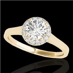 1.11 ctw Certified Diamond Solitaire Halo Ring 10k Yellow Gold - REF-184G3W