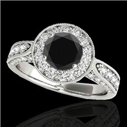 2 ctw Certified VS Black Diamond Solitaire Halo Ring 10k White Gold - REF-80W6H