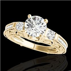 1.63 ctw Certified Diamond Solitaire Antique Ring 10k Yellow Gold - REF-259W3H