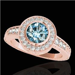1.50 ctw SI Certified Fancy Blue Diamond Halo Ring 10k Rose Gold - REF-128H2R