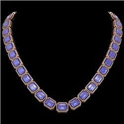 79.99 ctw Tanzanite & Diamond Micro Pave Halo Necklace 10k Rose Gold - REF-1704G2W