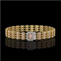 24.91 ctw Morganite & Diamond Bracelet 14K Yellow Gold - REF-354K5Y