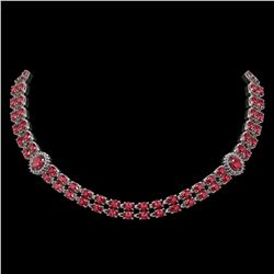 37.23 ctw Tourmaline & Diamond Necklace 14K White Gold - REF-527W3H