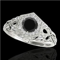 1.4 ctw Certified VS Black Diamond Solitaire Antique Ring 10k White Gold - REF-59M2G