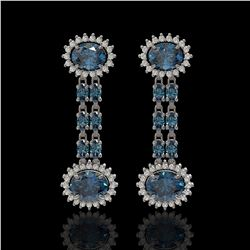 9.85 ctw London Topaz & Diamond Earrings 14K White Gold - REF-148F9M