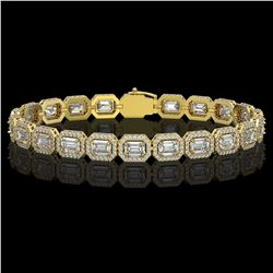 14.57 ctw Emerald Cut Diamond Micro Pave Bracelet 18K Yellow Gold - REF-2284X2A