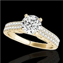 1.41 ctw Certified Diamond Solitaire Antique Ring 10k Yellow Gold - REF-197M8G