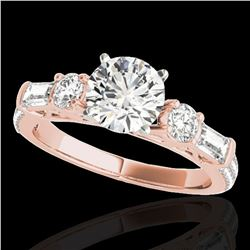 2 ctw Certified Diamond Pave Solitaire Ring 10k Rose Gold - REF-231H8R