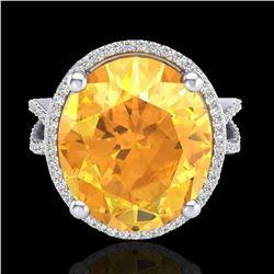 10 ctw Citrine & Micro Pave VS/SI Diamond Ring 18k White Gold - REF-80A2N