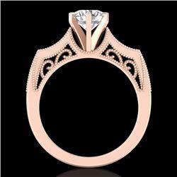 1.25 ctw VS/SI Diamond Solitaire Art Deco Ring 18k Rose Gold - REF-400W2H