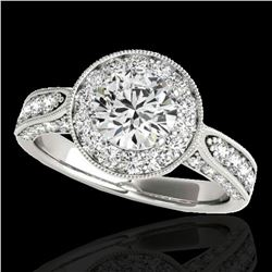 2 ctw Certified Diamond Solitaire Halo Ring 10k White Gold - REF-225F2M