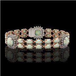 16.55 ctw Opal & Diamond Bracelet 14K Rose Gold - REF-286X2A