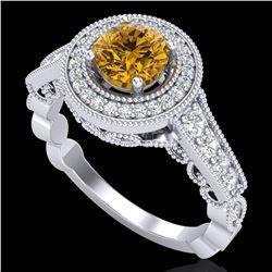 1.12 ctw Intense Fancy Yellow Diamond Art Deco Ring 18k White Gold - REF-167X3A