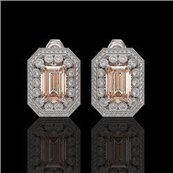 11.69 ctw Morganite & Diamond Victorian Earrings 14K White Gold - REF-381K5Y