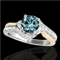 1.6 ctw SI Certified Fancy Blue Diamond Bypass Ring 10k 2Tone Gold - REF-135M2G