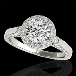 1.5 ctw Certified Diamond Solitaire Halo Ring 10k White Gold - REF-204W5H