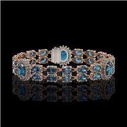 19.3 ctw London Topaz & Diamond Bracelet 14K Rose Gold - REF-254Y5X