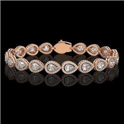 12.38 ctw Pear Cut Diamond Micro Pave Bracelet 18K Rose Gold - REF-1702K8Y