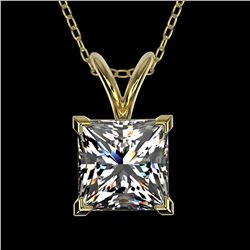 1.25 ctw Certified VS/SI Quality Princess Diamond Necklace 10k Yellow Gold - REF-325H2R