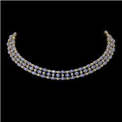35.93 ctw Tanzanite & Diamond Necklace 10K Yellow Gold - REF-527R3K