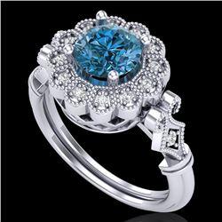 1.2 ctw Intense Blue Diamond Engagment Art Deco Ring 18k White Gold - REF-218G2W