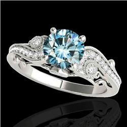 1.5 ctw SI Certified Fancy Blue Diamond Antique Ring 10k White Gold - REF-150W2H